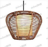 Wholesale LLFA1446 Handmade quot Dia cm Modern Round Rattan Ceiling Pendant Lamp Lights Fixture Chandelier Light Droplight Lighting