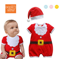 2013 Baby kids christmas clothing santa claus modelling short sleeve baby romper with cap toddler jumpsuits infant bodysuit