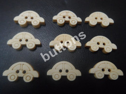 Wholesale holes wooden cars Tong buttons MM natural environment without staining Button DIY
