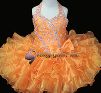 Wholesale new halter orange Short mini skirt Infant toddler ruffles kids Wedding Flower Girls dress STATENATIONAL Pageant Dresses Cupcakes custom