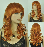 wavy European Wigs other Capless Long Wave Golden orange Synthetic Wig Side Bang 10pcs lot mix order free shipping