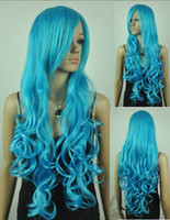 Multi-Color African-American Wigs  Capless Long Top Grade Quality Synthetic light Blue Costume Party Wig 10pcs lot mix order free shipping