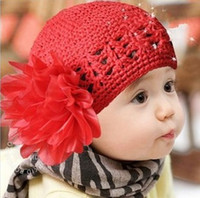 Wholesale Infant Hat Newborn Baby Toddlers Girls Cute Flower Crochet Beanie Knitted Caps Hats Good Quality BB42