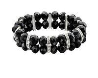 Bohemian amethyst costume jewellery - Black Facet Bead Stretch Bracelet Clear Crystal Black Bead Stretch Design Costume Jewellery