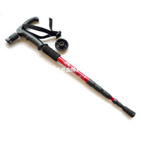 Wholesale Alpenstock AntiShock Trekking Walking sticker with light adjustable hiking stick ZYD011
