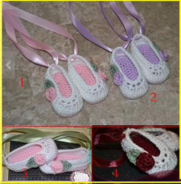 Wholesale Sale Baby Crib Shoes Crochet ballet slippers Photo Prop newborn shoes toddler shoes Crochet baby shoes Baptism Shoes cheap shoes pairs