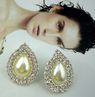 Wholesale Christmas earrings high quality diamonds and pearl earrings