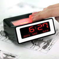 Wholesale New LED Backlight Clock Calendar Night Vision Alarm Clock With Thermometer Black