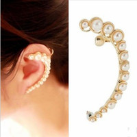 Wholesale Fashion Women Personality Crescent Imitated Pearl Ear Cuff Clip Earring Charm Studs Gold amp Silver Color
