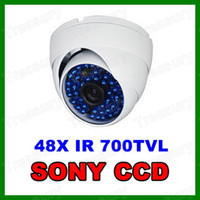 Wholesale 48pcs Blue LED TVL CCD Color SONY Super HAD CCTV Outdoor Vandal Dome Camera White MM Wide Angle