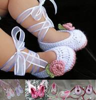 Boy ballet shoes online - 35 off Hot models Ballet handmade ribbon flowers newborn crochet shoes cheap shoes baby wear kid shoes shoes online pair