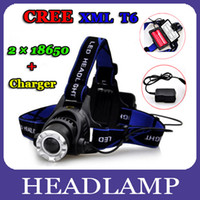 Wholesale 3 Modes Lumen CREE T6 LED Headlamp Headlight Flashlight Bike Head Torch Zoomable Battery Charger DHL Shipping