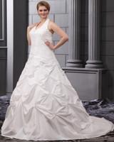 Garden Autumn/Spring Modern Real Picture Elegant Chiffon Halter Chapel Train A-Line Bridal Plus Size Wedding Dress