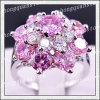 Wholesale Jewelry New pink sapphire lady s KT white Gold Filled Ring size7 free