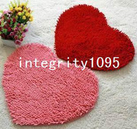 Wholesale 50 cm Chenille heart love carpet macrotrichia pad bathroom absorbent door mats bath mat