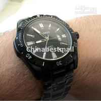 Casual Men's Quartz-Battery Free Shipping CURREN 8110 Casual Water-proof Date Display Stainless Steel Japan Quartz Movement Men's Watch-Black
