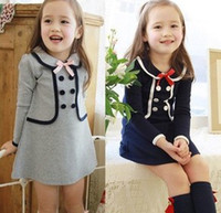 Children Girls Bow Back To School One Piece Autumn Long Slee...