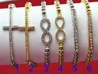 Women's sideways cross charm - Fashion Jewelry acrylic CCB Beads Sideways Cross Infinity Tube Charm Elastic Stretch Bracelet