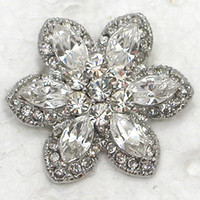 Wholesale Smaller Flower Brooches Glisten Clear Marquise Crystal Rhinestone Bridesmaid Wedding Party Prom Brooch Pin C2154