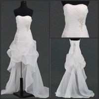 Wholesale 2013 Wedding Dresses In Stock Off Modern Scoop Beading Hi Low Wedding Dress Bridal Gown Online Stores