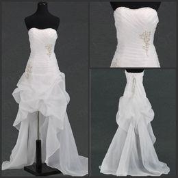 Wholesale 2013 Wedding Dresses In Stock Off Modern Scoop Beading Hi Low Wedding Dress Bridal Gown Online Stores