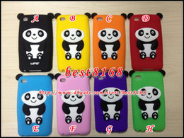 Wholesale 3D rilakkuma bear panda Silicone gel Case rubber cartoon teddy skin cover cases For Ipod touch th G itouch4 lovely animal