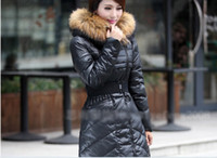 Wholesale New Winter Luxury Diagonal Zipper Hooded Down Coat Long Coat Big Yards Genuine SF08