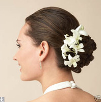Wholesale 50PX Cream Quality Orchid Flower Hair Clip Hair Pin wedding Bridal Bridesmaid Party