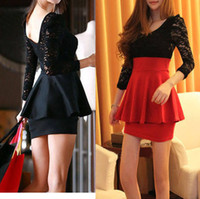 Wholesale Sexy Black Lace Long Sleeve Clubbing Cocktail Party Mini Women Dress New Fashion