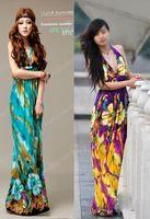 Wholesale Womens Bohemia Halter Summer Long Beach Dress Maxi Skirt Green Yellow