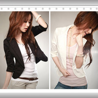 Women Cotton Waist_Length New Women's Sexy Black One Button Small Suit Jacket US Size s XXL