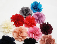 Wholesale 50P X Soft quot Small Size Blooming Chiffon Fabric Flower Brooch Hair Clip Boutique Hair Accessories