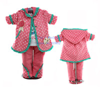 Girl Spring / Autumn  New arrival 2013 fashion baby girl polka dot flower suit set hoody coat t shirt pants 3pcs toddler outfit 3sets lot wholesale