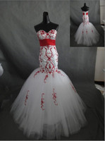 Wholesale 2013 Vintage Sweetheart Pleat Ribbons Satin And Tulle Floor Length Red amp White Mermaid Trumpet Prom Wedding Dresses With Beaded Embroidery