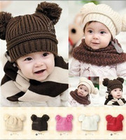 Unisex Winter Crochet Hats Free Shipping Fashion Baby Winter Beanie Hat Baby Toddler Knitted Double Ball Knitted Cap Children Hats Children Crochet Mouse Cap1499
