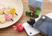 Wholesale Cell Phone Headset Dustproof Dust Plug Cartoon Cat Bear Bird Rabbit for iPhone S Plus S Samsung Note S5 S6