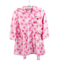 Wholesale F4250 Pink Nova kids pajamas peppa pig pyjamas polar fleece girls long sleeve hooded night robe children cartoon cute nightwear for winter