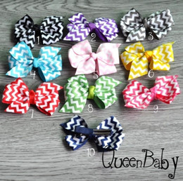 Wholesale Trail Order New Summer Chevron Bow Clip Baby Girl s Chevron Print Hair Bow clip Kids Hair Accessories