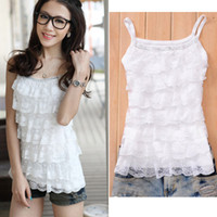 Wholesale Sweet Girls Women Lace Halter Mini Shirt Tiered Top Blouse Sleeveless