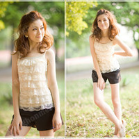 Polyester sleeveless halter top - Sweet Girls Women Lace Halter Mini Shirt Tiered Top Blouse Sleeveless