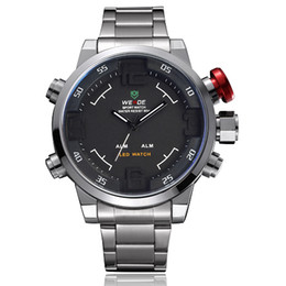 Weide brand digital quartz watch wristwatch men male Fashion & casual date day time display LED stainless steel band military watches