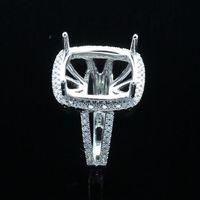 Round real diamond ring - 0 ct Real Diamond K White Gold Wedding Semi Mount Halo Ring x12mm Cushion