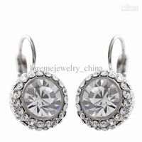 Wholesale Alloy Circular with Crystal Zircon Sparkling Earrings