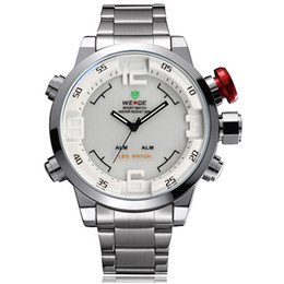 Weide brand New Mens Dual Time Dial LED Digital Quartz Alarm white Military Sports Wrist Watch