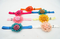 mixture colour Bohemian Children's Wholesale DIY rosetted handmade beauty pink satin silk rose puff flowers headbands eyelet flowers hairband accesories 100pcs lot