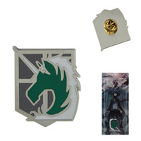 Wholesale Japanese Anime Attack on Titan Military Police Badge Metal Pin x D431