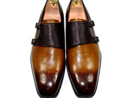 dress shoes men's shoes monk shoes oxford shoes custom handmade shoes genuine calf leather color brown double buckles new arrival HD-0130