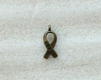 Chirstmas cancer ribbons - 140PCS Antiqued Bronze Cancer Awareness HOPE Ribbon Charms A5104B