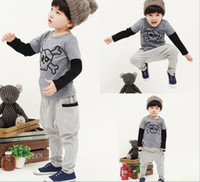 Boy Spring / Autumn Long 2013 autumn new style children Casual sets Korean Skeleton t shirt + pants 2 piece boys suit kids clothing 110-150 size 5 sets lot QA395