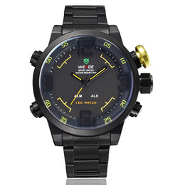 Weide brand quartz wristwatches mens led digital fashion black military water resistant hands watch hours for gift